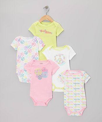 Pink & Yellow Peace Sign Logo Bodysuit Set