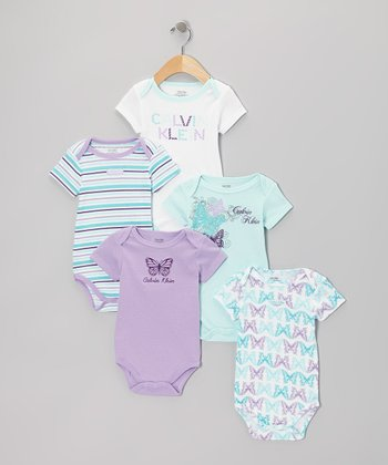 Light Blue & Lavender Butterfly Branded Bodysuit Set