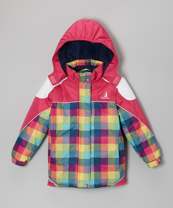 Fuchsia & Green Plaid Snow Jacket - Infant, Toddler & Girls