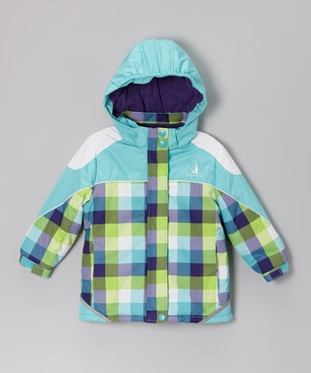 Turquoise & Purple Plaid Snow Jacket - Infant, Toddler & Girls