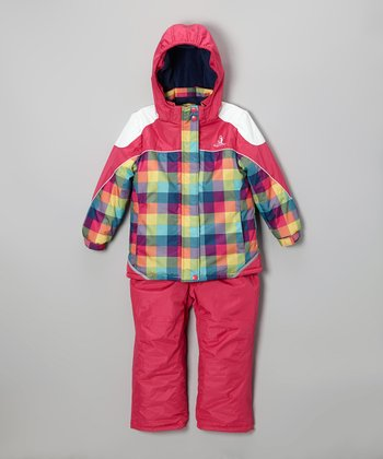 Fuchsia Plaid Snow Jacket & Hot Pink Bib Pants - Infant & Girls