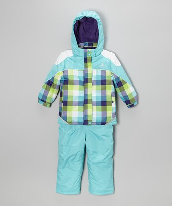 Turquoise Plaid Snow Jacket & Bib Pants - Toddler & Girls
