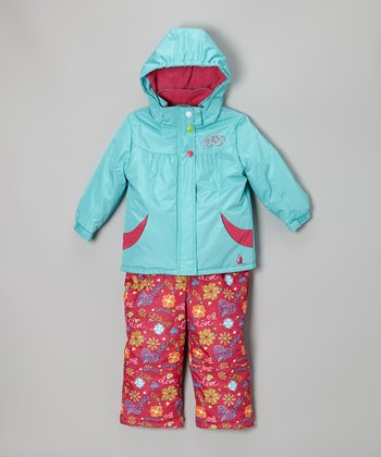 Turquoise Snow Jacket & Pink Bib Pants - Infant, Toddler & Girls