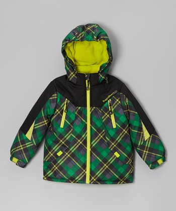 Green Plaid Snow Jacket - Infant & Boys