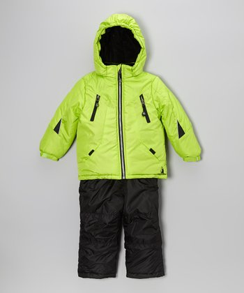 Lime Snow Jacket & Black Bib Pants - Infant & Toddler