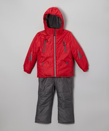 Red Snow Jacket & Charcoal Bib Pants - Infant, Toddler & Boys