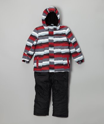 Red Stripe Snow Jacket & Black Bib Pants - Infant, Toddler & Boys