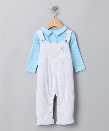 absorba Blue Bodysuit & Overalls - Infant
