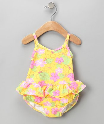 Light Yellow Floral Skirted Swim Sunsuit - Infant