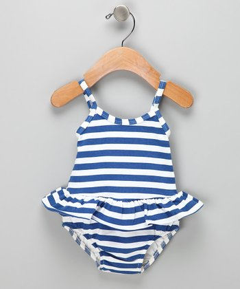Navy Stripe Skirted Swim Sunsuit - Infant &Toddler