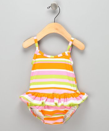 Orange Stripe Skirted Swim Sunsuit - Infant &Toddler
