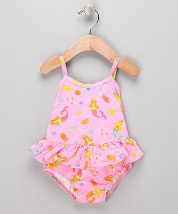 Pink Mermaid Skirted Swim Sunsuit - Infant &Toddler
