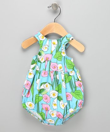Blue Calla Lily Bubble Swim Sunsuit - Infant