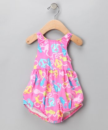 Pink Anchor Bubble Swim Sunsuit - Infant