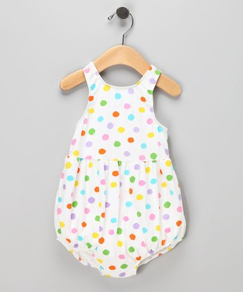 White Polka Dot Bubble Swim Sunsuit - Infant & Toddler
