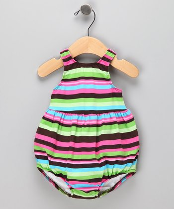 Brown Stripe Bubble Swim Sunsuit - Infant