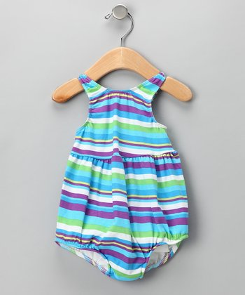 Purple Stripe Bubble Swim Sunsuit - Infant