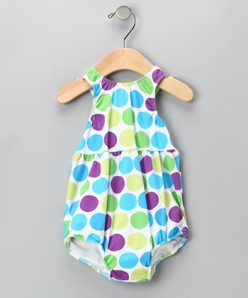 Blue Polka Dot Bubble Swim Sunsuit - Infant