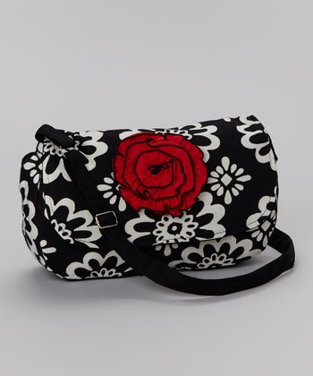 Black & Red Rose Messenger Bag