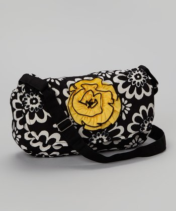 Black & Yellow Rose Messenger Bag