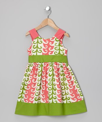 Pink & Green Feather A-Line Dress - Toddler & Girls