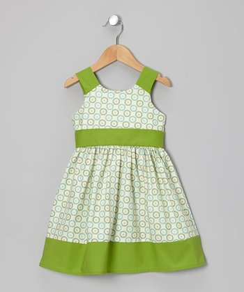 Green Button A-Line Dress - Toddler & Girls