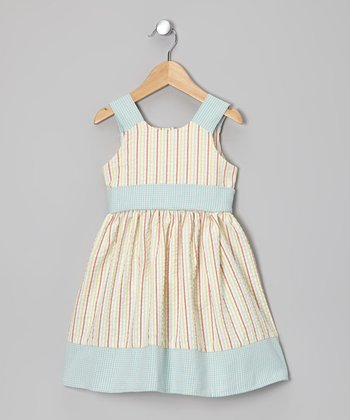 Red & Blue Stripe A-Line Dress - Toddler & Girls