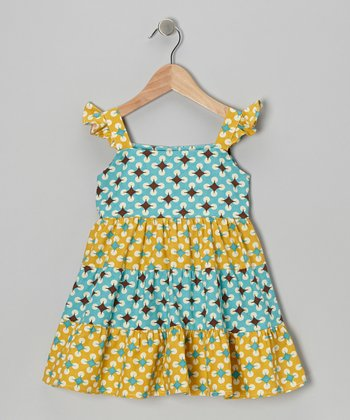 Turquoise & Gold Geometric Tiered Dress - Toddler & Girls