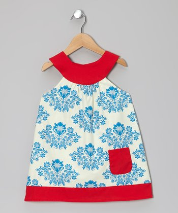 Blue Damask Yoke Dress - Toddler & Girls
