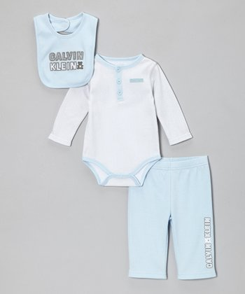 Light Blue Teddy Bear Long-Sleeve Bodysuit Set