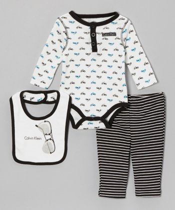 White & Black Motorcycle Long-Sleeve Bodysuit Set