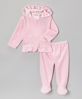 Light Pink Velour Zip-Up Hoodie & Footie Pants