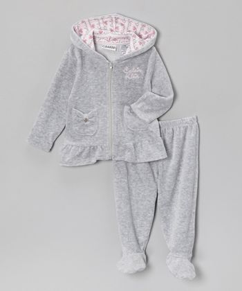 Light Heather Gray Velour Zip-Up Hoodie & Footie Pants