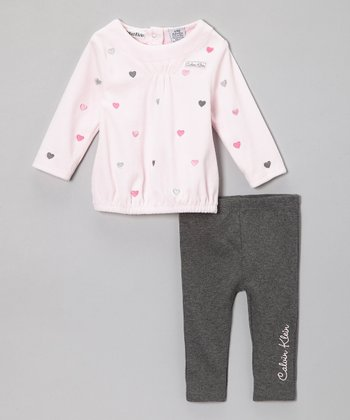 Light Pink Heart Top & Charcoal Leggings