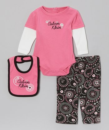 Fuchsia Daisy Circle Layered Long-Sleeve Bodysuit Set