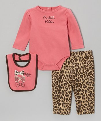 Fuchsia Leopard Long-Sleeve Bodysuit Set