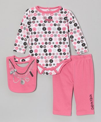 Fuchsia Polka Dot Long-Sleeve Bodysuit Set