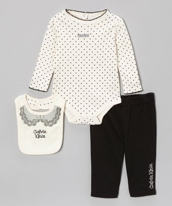 White Polka Dot Long-Sleeve Bodysuit Set