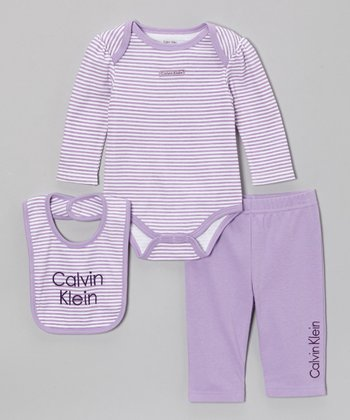Lavender Stripe Long-Sleeve Bodysuit Set