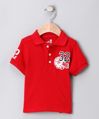 Health Tex Red Football Polo - Infant Toddler & Boys