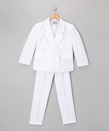 White Two-Piece Suit Set - Boys