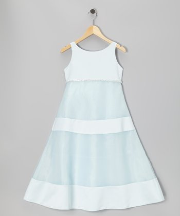 Light Blue A-Line Dress - Girls