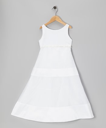 White A-Line Dress - Girls
