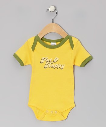 Yellow 'Fat & Happy' Organic Bodysuit - Infant