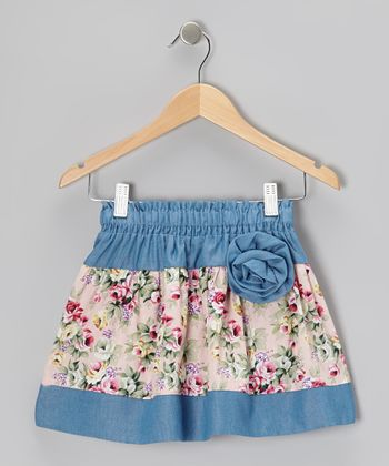 Light Blue Floral Corsage Skirt - Toddler & Girls