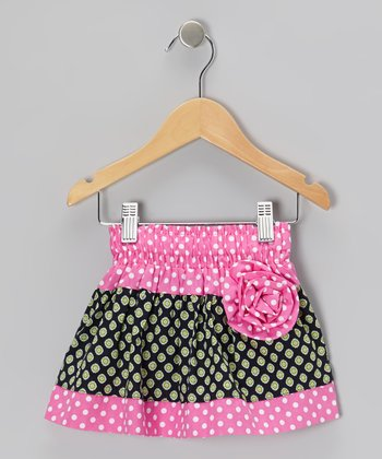 Pink & Black Polka Dot Corsage Skirt - Toddler & Girls