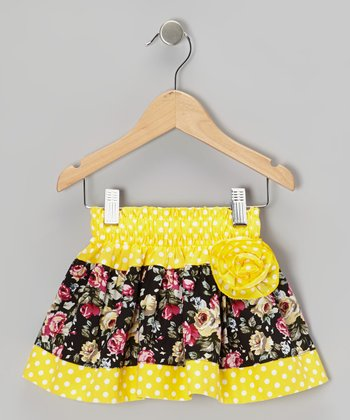 Yellow Polka Dot Floral Corsage Skirt - Toddler & Girls