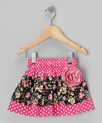 Pink Polka Dot Floral Corsage Skirt - Toddler & Girls