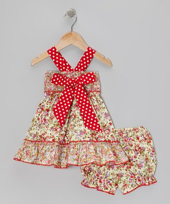 Floral Polka Dot Bow Dress & Bloomers - Infant