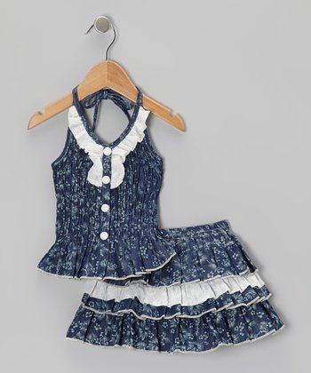 White & Navy Floral Halter & Tiered Skirt - Infant